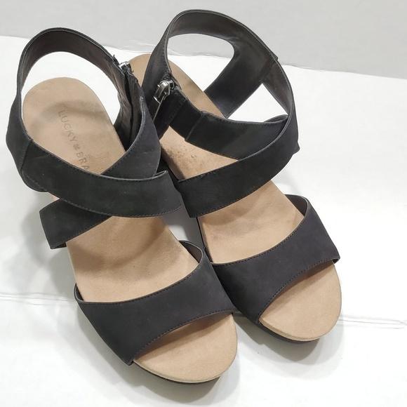 322aad9f5b Lucky Brand Shoes | Kakina Wedge Leather Sandals | Poshmark